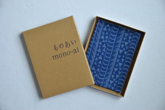 藍染×型染ハンカチ(龍縞)の画像1枚目