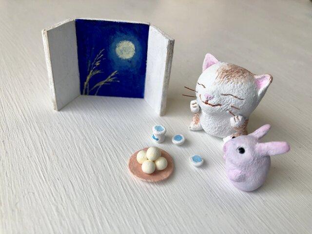 お月見猫さんとうさぎさんの画像1枚目
