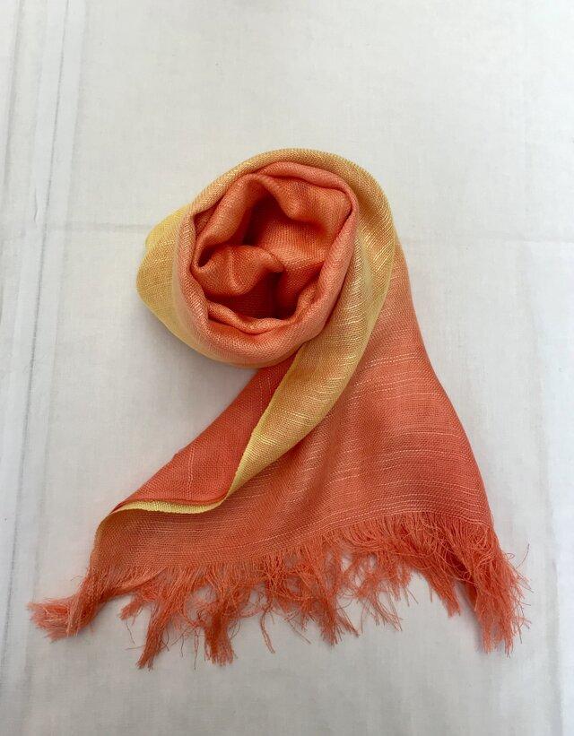 国産シルク100%手描き染めストール orange&yellowの画像1枚目