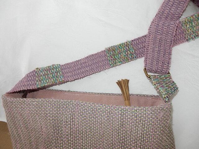 ショルダーバッグ 裂き織 ピンクの画像1枚目
