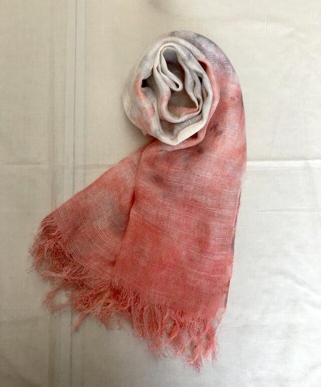 国産シルク100%手描き染めストール pink&glayの画像1枚目