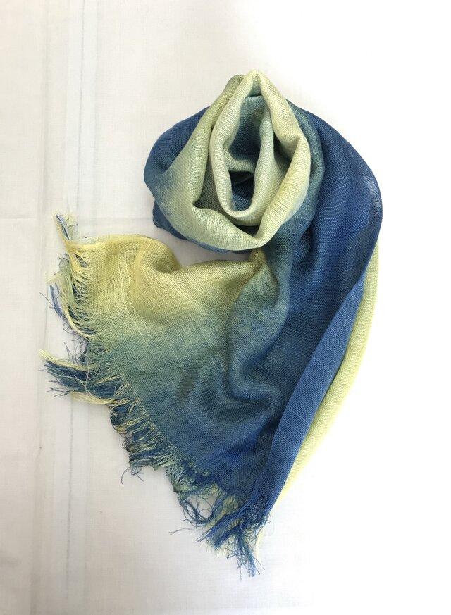 国産シルク100%手描き染めストール blue&yellowの画像1枚目