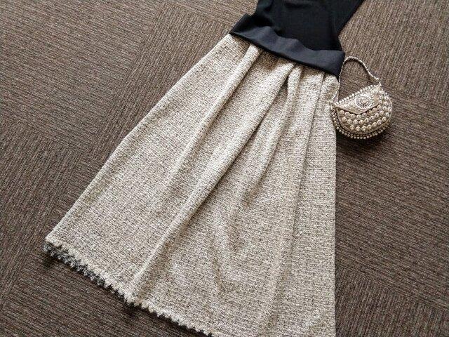 ★一点物★デンマーク老舗生地屋ITAのツィード・スカロップの裾飾り★受注製作★の画像1枚目
