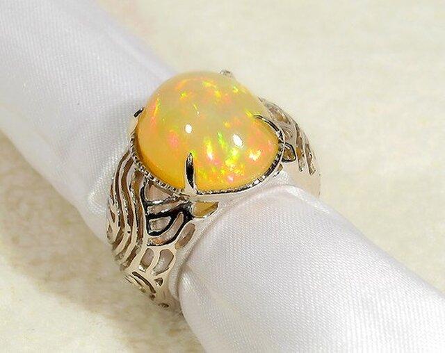 6.79ctオパールとプラチナ(Pt900)の指輪(リングサイズ:10号、プラチナ:約10.4g)の画像1枚目