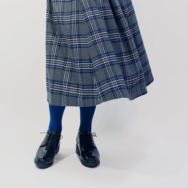 年間OK!グレー×黒×青 タータンチェック ポリレーヨン ロングスカート ●ROLLA●の画像1枚目