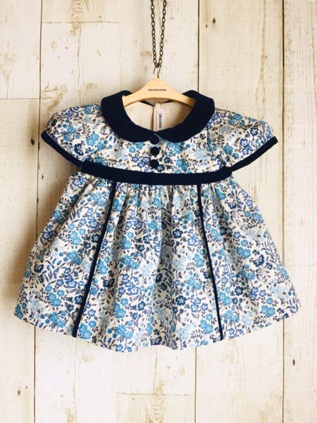 ダッフィーサイズのお洋服 小花ワンピース(ブルー)の画像1枚目