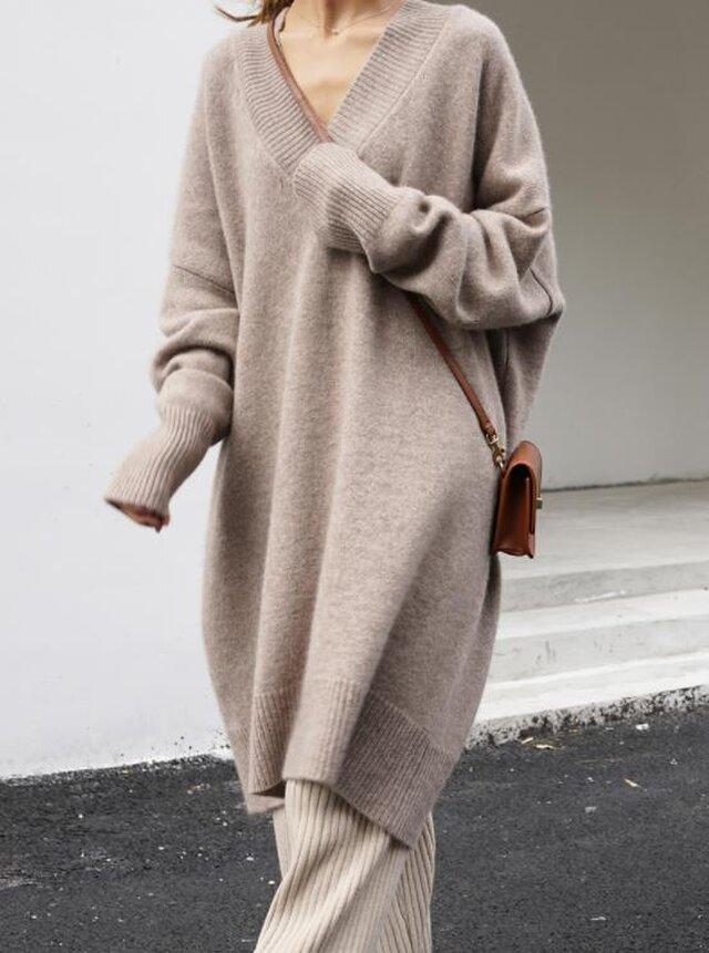 【受注製作】カシミアワンピース・セーター ニット オーダーメイド 豊富な色 LH 4231の画像1枚目