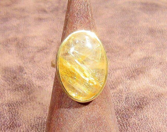 13.25ctルチルクォーツの指輪(リングサイズ:9.7号、K18イエローゴールドの厚メッキ)の画像1枚目
