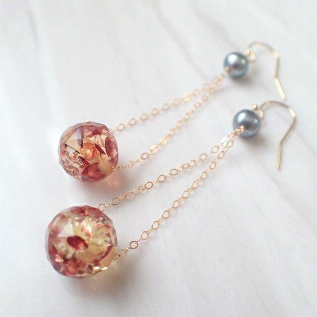 K14GF water pearl & amber pierceの画像1枚目