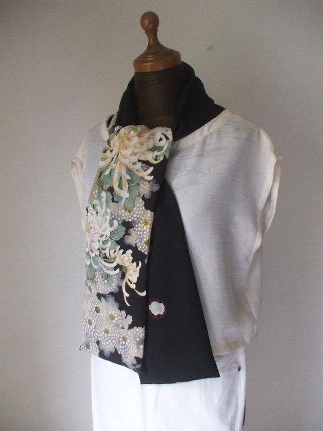 アンティーク友禅大輪の菊の留袖ストール 絹の画像1枚目