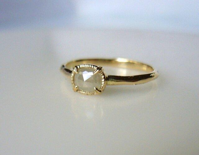ナチュラルダイヤモンドのK14の指輪(ミルキーホワイトグレー) の画像1枚目