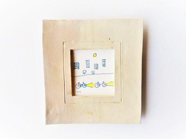 「レモンの夜に」イラスト原画 ※陶器の額縁入りの画像1枚目