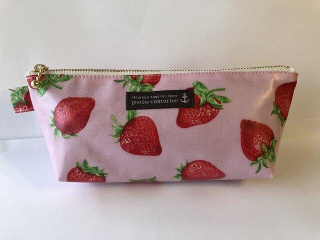 大粒イチゴ ラミネートペンケース ピンクの画像1枚目
