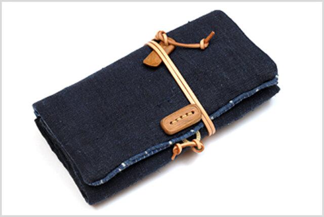 手織りの大麻布のギャルソンウォレットの画像1枚目