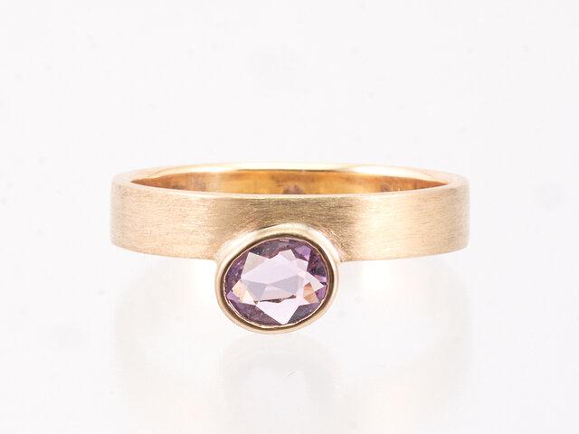 K18 Sunrise Ring / Oval Sapphireの画像1枚目