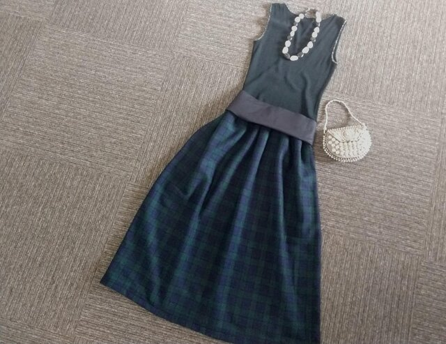 ★一点物★デンマークのヒュッゲ★タータンチェックのギャザースカート★の画像1枚目