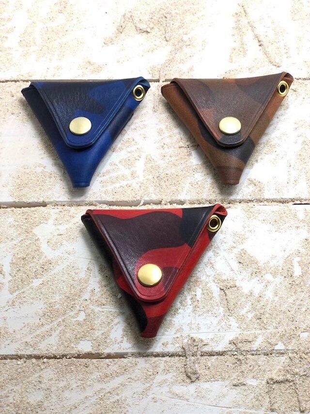 カモフラレザー仕様 三角コインケース シリーズ2の画像1枚目