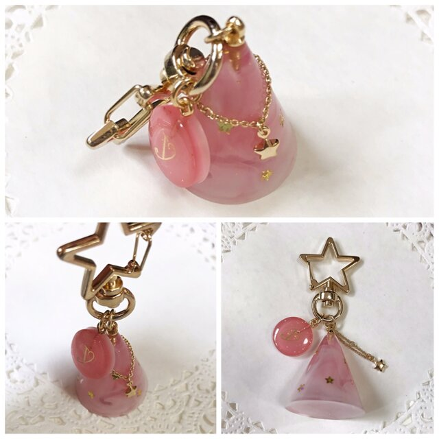再販!イニシャルプレート付き☆ Twinkle starキーホルダー(ピンク)の画像1枚目