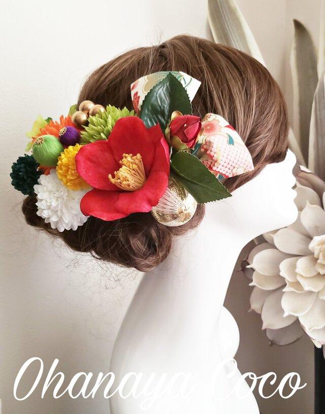 花姫 江戸椿と銀杏形リボンの髪飾り13点Set No608の画像1枚目