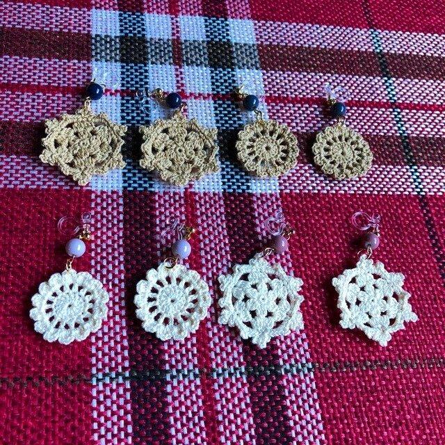 【オーダー品】かぎ針編みのイヤリングの画像1枚目