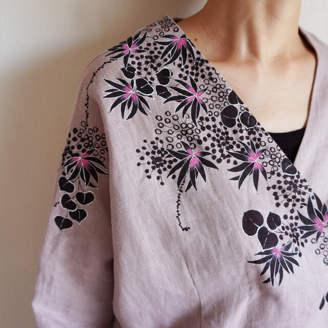 リネン・羽織り くすみピンク <海中植物>の画像1枚目