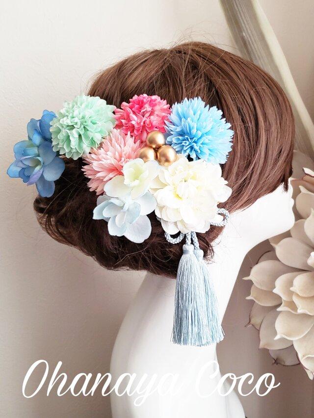 fuwafuwaマムと紫陽花の髪飾り9点Set No611の画像1枚目