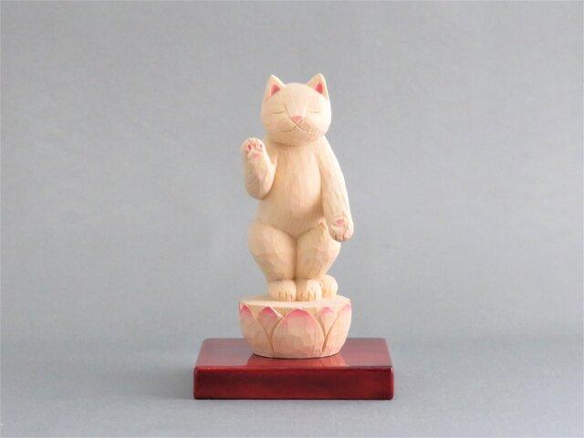 木彫り 立ち阿弥陀猫 猫仏1923の画像1枚目