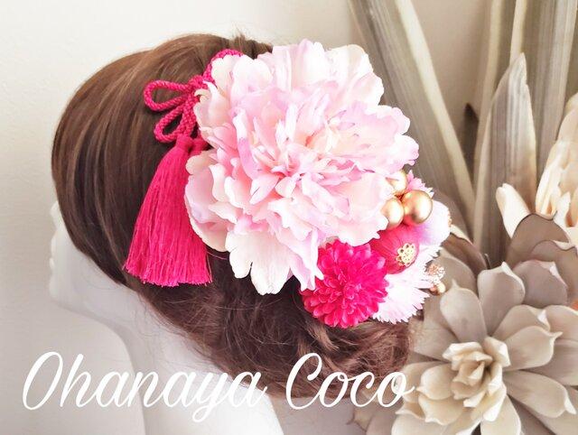 甘花 ピンク系お花と和ponボールの髪飾り10点Set No612の画像1枚目