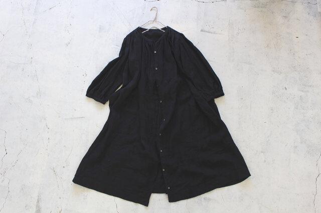 ギャザーロングシャツ*リトアニアリネン100% black【受注生産】の画像1枚目