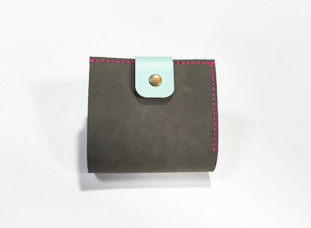 イタリアンヌバック牛革のお財布(ダークグレー×グリーン×ネオンピンク)の画像1枚目
