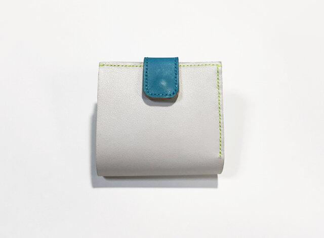 牛革のお財布(ライトグレー×ブルー×ネオンイエロー)の画像1枚目