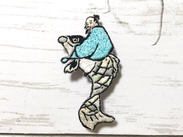 手刺繍浮世絵ブローチ*鍬形蕙斎(北尾政美)「人物略画式」よりの画像1枚目