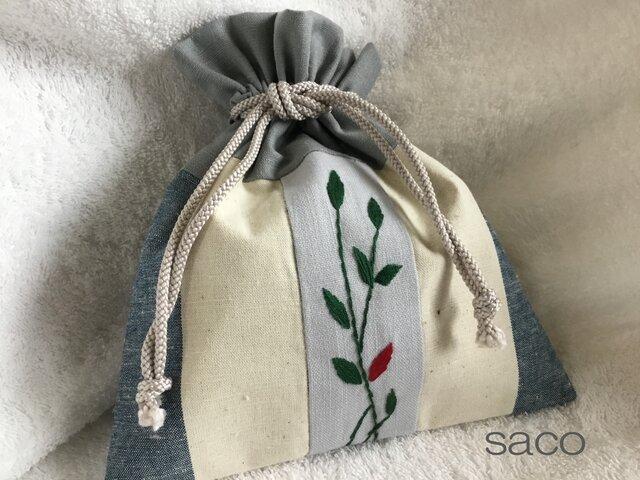 リーフ刺繍の巾着・ブルーグレーの画像1枚目