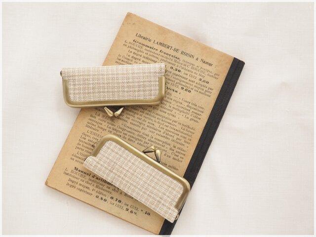 ■手紡ぎ、手織りシルク・リネンのがま口印鑑ケース / ■ hanko case (gmi-aa)の画像1枚目