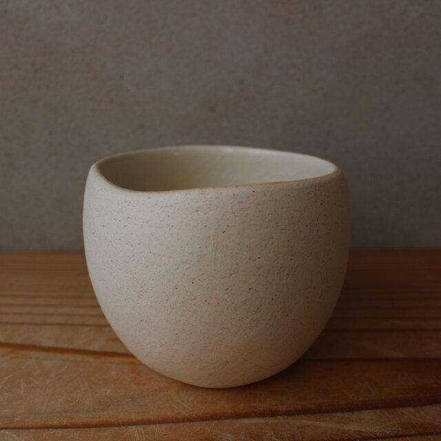 顔料赤  育てるウツワ 揺ら フリーカップ(地シリーズ)白 陶土の画像1枚目