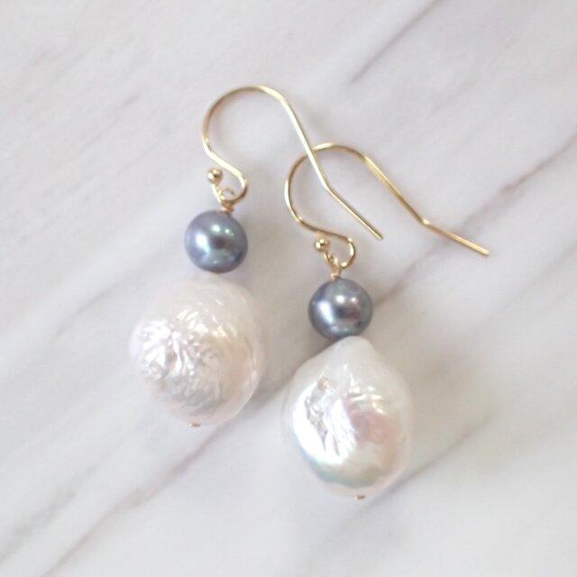 K14GF baroque water pearl pierceの画像1枚目
