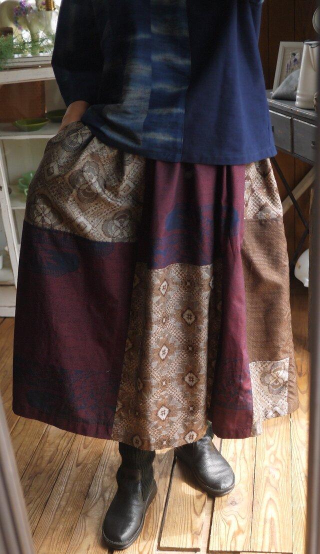 大島、結城紬正絹からリメイクパッチスカートの画像1枚目