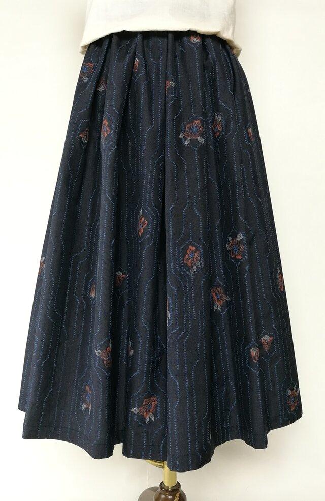 絹着物リメイク:タックスカートの画像1枚目