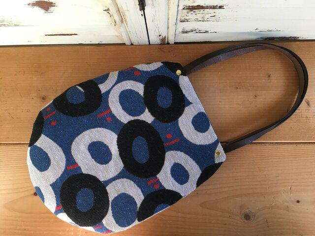 ジャガード織り たまご型バッグ blueの画像1枚目
