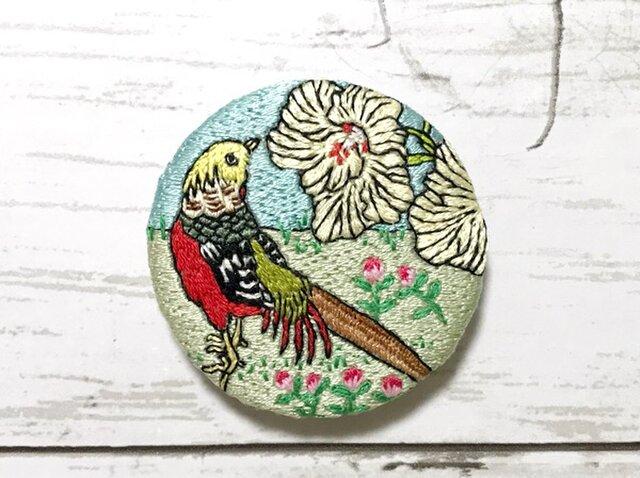 手刺繍日本画ブローチ*幸野楳嶺「楳嶺花鳥画譜 黄蜀葵・錦鶏」よりの画像1枚目