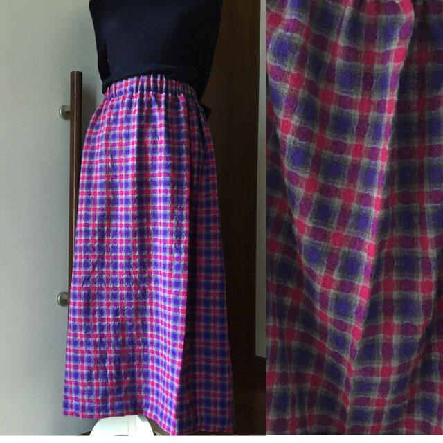 日本製ウールガーゼ  スカート 赤と紫の画像1枚目