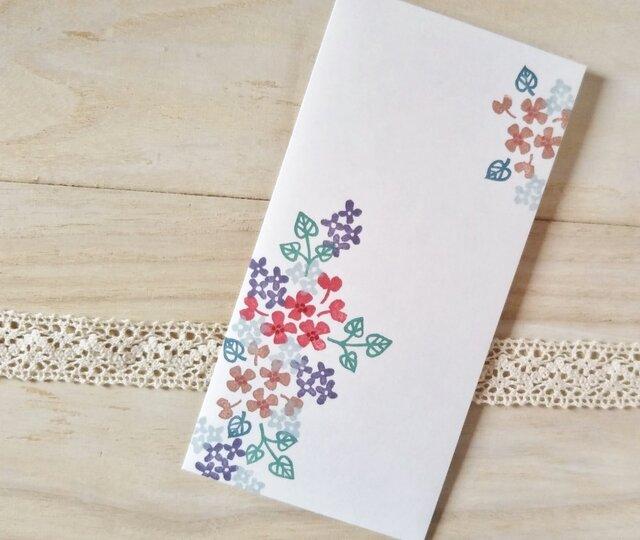 消しゴム版画 シール付伊勢和紙製のし袋(秋色の花模様)の画像1枚目
