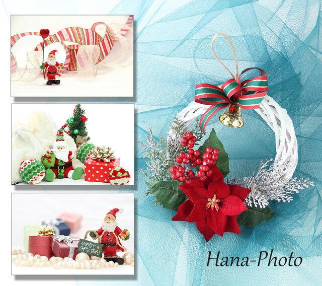 サンタカード+ポインセチアのクリスマスリース   リース台:15㎝ (201)の画像1枚目