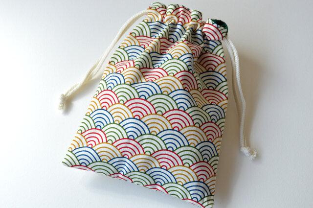 五色の青海波・巾着袋【 Simple 】の画像1枚目