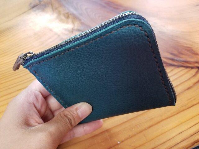 (選べる革、ステッチ)オリジナルミニL型財布の画像1枚目