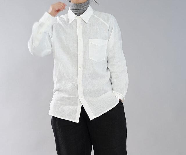 【wafu】薄手 雅亜麻 リネン 本格 プレミアム メンズ シャツ ラグランスリーブ 長袖 / 白色 t035a-wht1の画像1枚目
