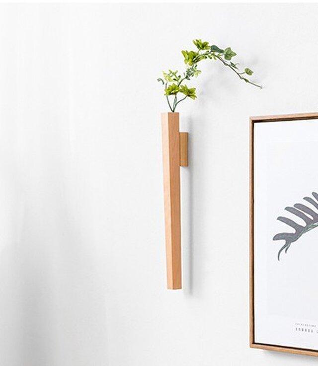 受注生産 職人手作り 一輪挿し 壁掛け リビングルーム 北欧スタイル 木製 木工 天然木 シンプル 無垢材 エコ 木目の画像1枚目