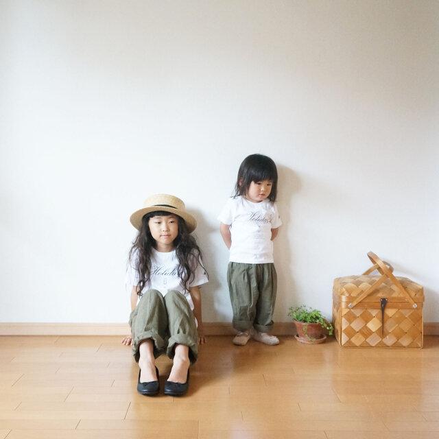 Cotton antique tuck pants KHAKI kids 3(120cm~),4(140cm~)sizeの画像1枚目