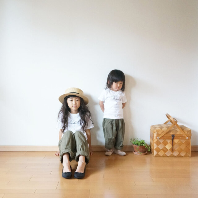 Cotton antique tuck pants KHAKI kids 1(80cm~),2(100cm~)sizeの画像1枚目