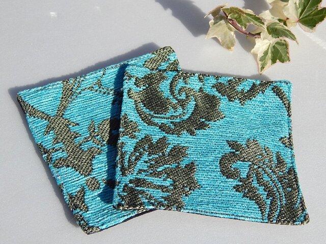 ゴブラン織りコースター ターコイズxモロカングラス(2枚組)の画像1枚目